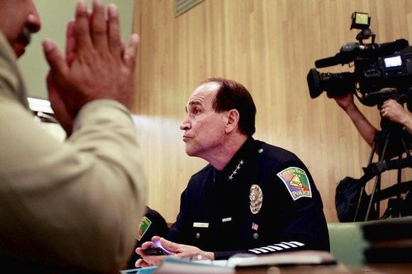 Bell Police Chief Randy Adams attends a City Council meeting during the Bell salary scandal in July 2010.