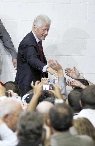 Former President Clinton campaigns for President Obama in Wintersville, Ohio.