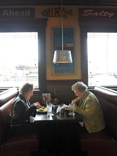 Allyne Kramer, left, of Joppa, enjoys lunch with Frances Smith, of Churchville, at Marlin & Ray's.