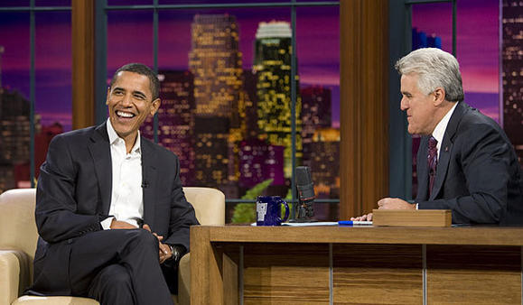 "President Obama visits Jay Leno and ""The Tonight Show"" in 2009."