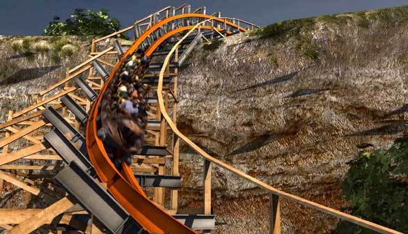 An artist rendering of the Iron Rattler hybrid wood-steel coaster hugging a former rock quarry wall at Six Flags Fiesta Texas.