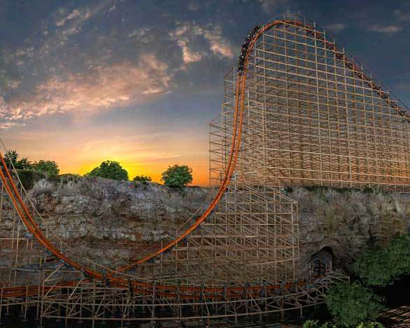 An artist rendering of the Iron Rattler hybrid wood-steel coaster descends along a sheer wall at Six Flags Fiesta Texas, which was built in a former rock quarry.
