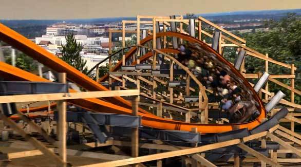 The Iron Rattler hybrid wood-steel coaster at Six Flags Fiesta Texas will feature four beyond-vertical banked turns.