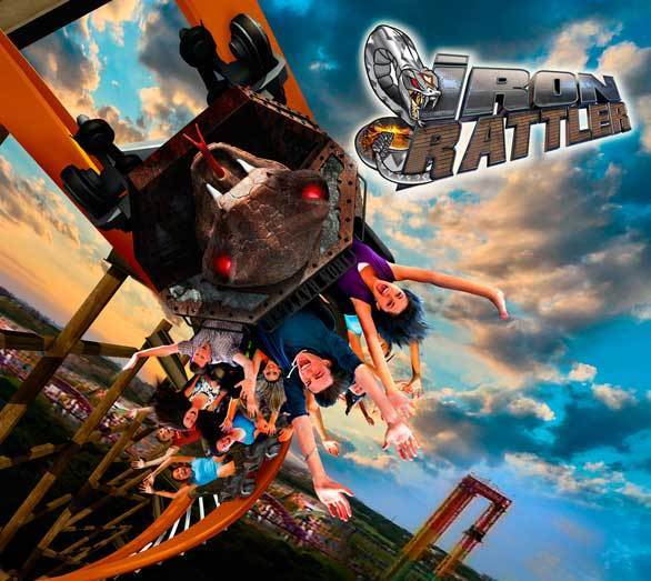 An artist rendering of the rattlesnake-themed Iron Rattler hybrid wood-steel coaster at Six Flags Fiesta Texas.