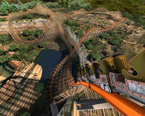An artist rendering of a train descending into the quarry below on the Iron Rattler hybrid wood-steel coaster at Six Flags Fiesta Texas.