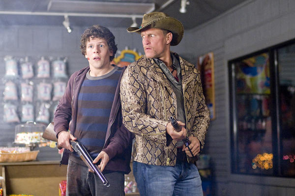 "Though most of ""Zombieland"" was filmed in Georgia, the crew of survivors, including Woody Harrelson and Emma Stone did make a quick spin past the iconic Chinese Theatre overrun by zombies.