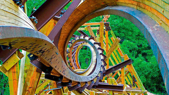 Outlaw Run at Silver Dollar City is a triple-inversion by Rocky Mountain Construction.