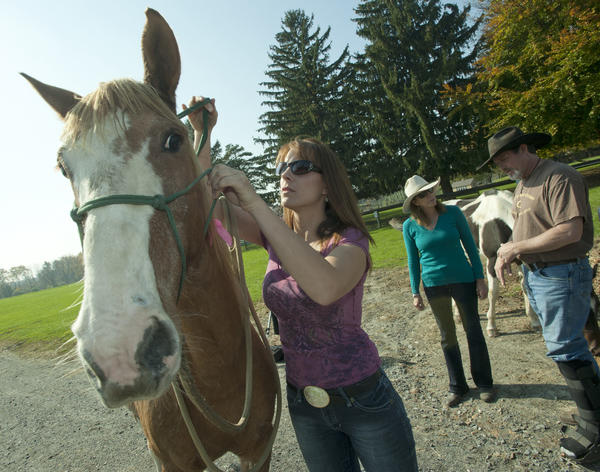 Fiancee Sherree Hogg Sally, prepares to feed Sandy, an 8-year-old mustang she co-owns with fiancee John Warnshuis of Redding (right) , California, as the couple take a day long break from their cross country trip at Willowbrook Farm in North Catasauqua on Wednesday. In, is Holly McLain, co-owner of Willowbrook (and sister of Peter Fuller is in rear). Warnshuis began a cross-country trip to raise to raise awareness for Guillain-Barre syndrome on March 28, 2011, and is headed to New York City, where he will end his journey in Times Square and get married. There, he will culminate the trip by getting married. Tuesday night. He arrived at Willow Brook, Tuesday night, where he stayed with his horses. Tuesday night he arrived at Willow Brook, where he stayed with his horses.