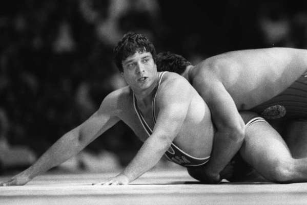 Jeff Blatnick, left, wrestles with Thomas Johansson of Sweden in the gold-medal match at the 1984 Olympics.