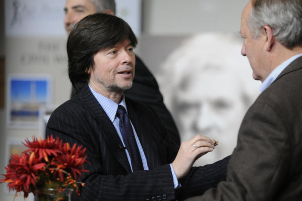 "Author and filmmaker Ken Burns talks with his co-author Dayton Duncan during a reception at the Mark Twain House in Hartford. The two had a part in creating a New England Tour that begins at the Mark Twain House. The tour ""Hidden Gems of New England"" was designed by Burns and Duncan for the Connecticut based tour operator Tauck."