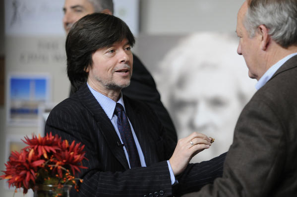 "HARTFORD Author and film maker Ken Burns talks with his co-author Dayton Duncan during a reception at the Mark Twain House in Hartford. The two had a part in  creating a New England Tour that begins at the Mark Twain House. The tour ""Hidden Gems of New England"" was designed by Burns and Duncan for the Connecticut based tour operator Tauck."