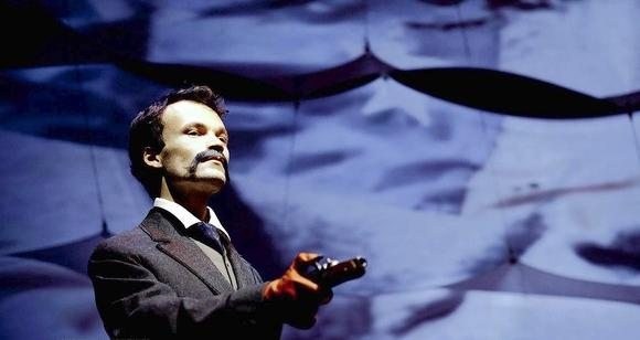 "Kevin Webb as John Wilkes Booth in ""Assassins"" at the Viaduct Theatre."