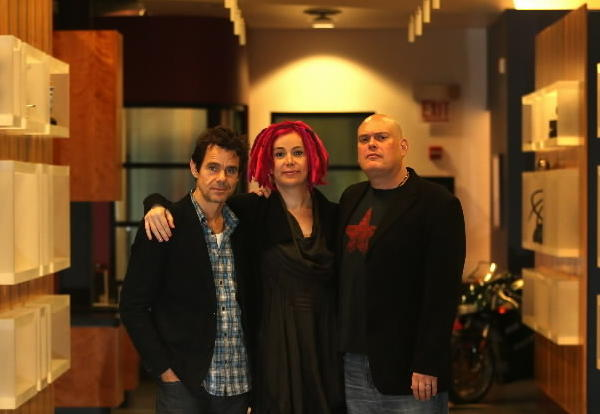 """Cloud Atlas"" directors Tom Tykwer, Lana Wachowski, and Andy Wachowski, at Kinowerks on Chicago's North side."