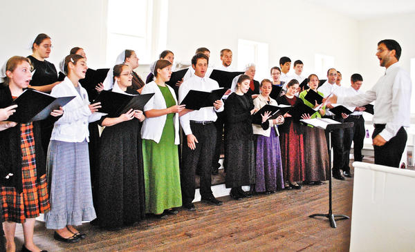 The Sharon Singers, a Mennonite choir, performed at the historic Tonoloway Primitive Baptist Church Oct. 7 as part of an interfaith fall service in Hancock.