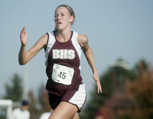 Bangor's Meredith Colton wins the girls 3A race as athletes compete in the District 11 cross country championships at Bethlehem Municipal Golf Course on Wednesday.