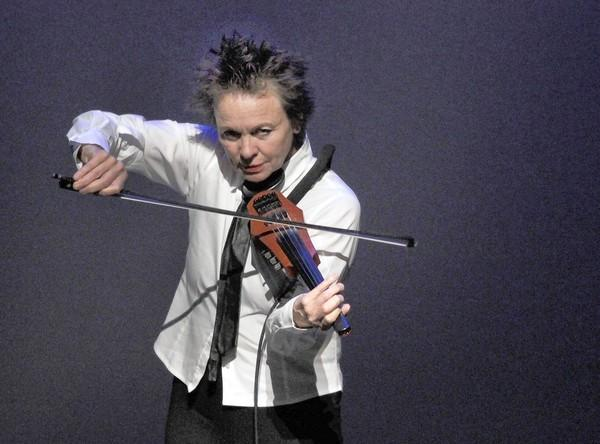"Laurie Anderson performing in her latest work, ""Dirtday!"""