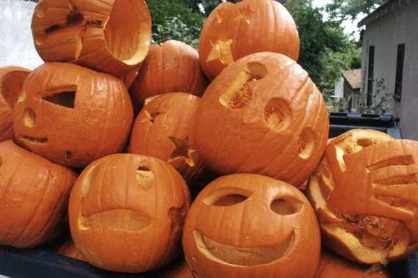 """Just a fraction of the jack-o-lanters left over in the aftermath of Sharon Deacon's yearly """"pumpkin alley,"""" which could be wrapping up in 2012."""