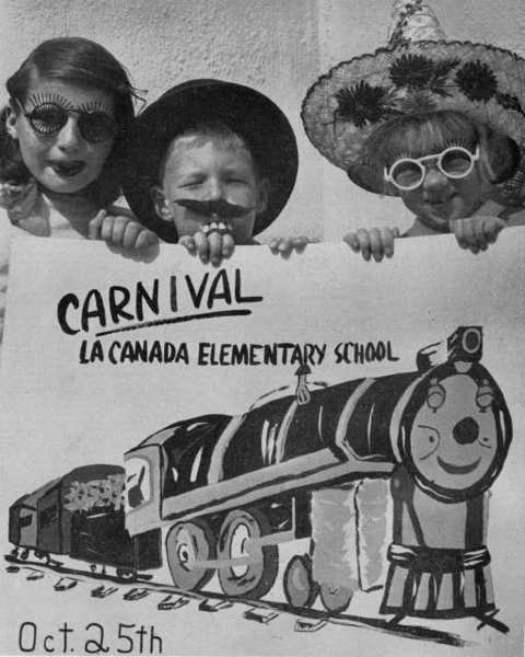 La Canada Elementary School students Carol Collado, from left, Lars Oakander and Susan Fite pose with a poster created by Carol to promote the school's October 1952 carnival. The event was a precursor to today's annual Halloween Haunt, which returns to the campus this Saturday.