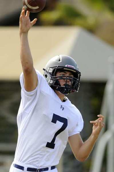ARCHIVE PHOTO: Flintridge Prep quarterback Clayton Weirick hurls a passes against Pasadena Poly.
