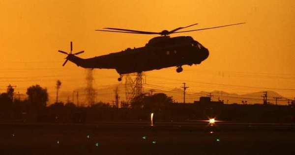 One of four large helicopters lands at Bob Hope Airport in Burbank on Wednesday, October 24, 2012, one of them carrying President Barack Obama. President Obama was heading to NBC studios for 'The Tonight Show with Jay Leno.'
