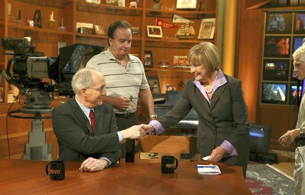 11th Congressional District candidates Bill Foster, left, and Judy Biggert meet before their final debate Wednesday on WTTW-TV.
