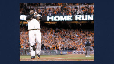 San Francisco Giants' Pablo Sandoval reacts after hitting his third home run of the game during the fifth inning of Game 1 of baseball's World Series against the Detroit Tigers Wednesday in San Francisco.