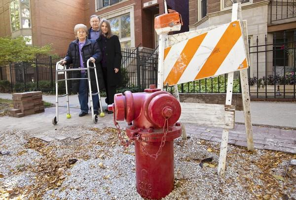 Laurie Dombrowski, right, stands with her grandparents Philomena, 80, and Jim Russum, 82, in front of their home in Chicago. Dombrowski's grandparents applied to have a handicapped parking space created on the street in front of their house. Two weeks later, the city moved a fire hydrant to the exact same spot.