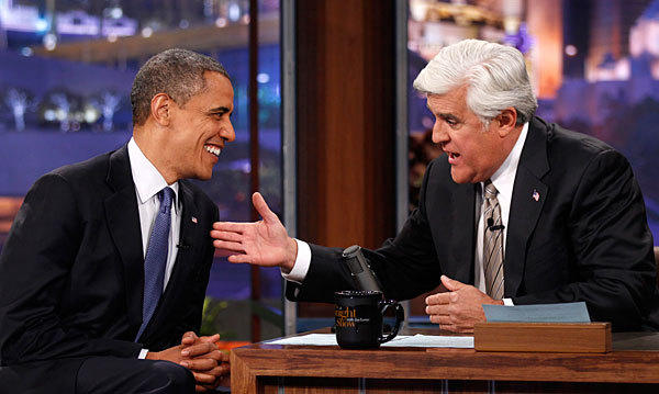 U.S. President Barack Obama makes an appearance on the Tonight Show with Jay Leno in Los Angeles.