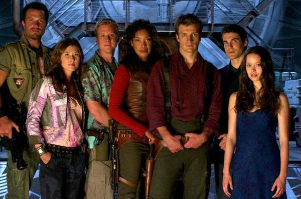 "Adam Baldwin, Jewel Staite, Alan Tudyk, Gina Torres, Morena Baccarin, Nathan Fillion, Sean Maher and Summer Glau of ""Firefly."""