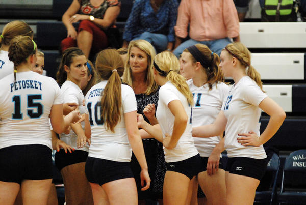Petoskey High School volleyball coach Heather Miller (middle) will lead the Northmen into the Class A district volleyball tournament at 7 p.m. Tuesday, Oct. 30, against Gaylord at Gaylord High School.