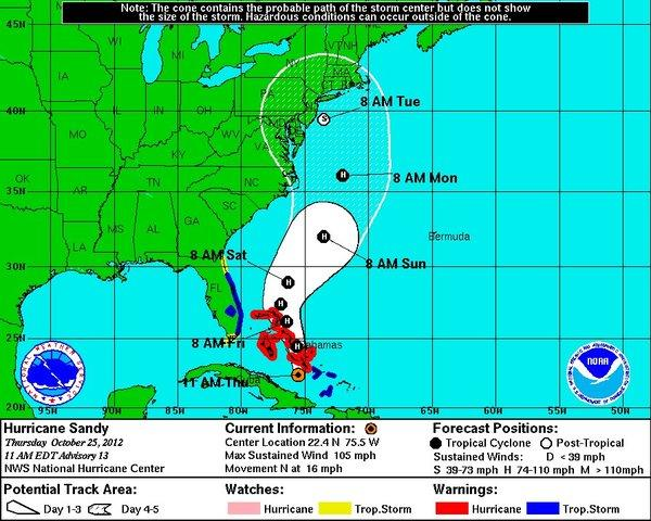 The National Hurricane Center has shifted its track for Hurricane Sandy to strike the mid-Atlantic coast.