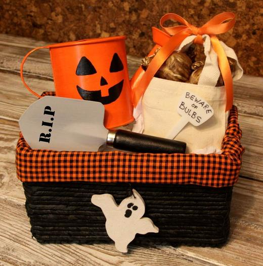 Young and old will enjoy making and/or receiving a Halloween basket of bulbs.