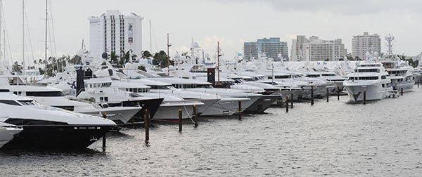 Luxury yachts line the Intracoastal Waterway during the Fort Lauderdale International Boat Show.