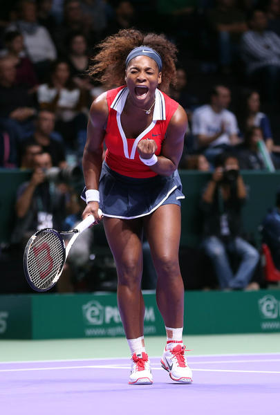 Serena Williams of USA celebrates winning a point against Li Na of China before during day two of the season ending TEB BNP Paribas WTA Championships Tennis at the Sinan Erdem Dome on October 24, 2012 in Istanbul, Turkey.