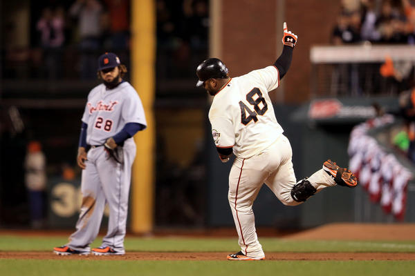 Pablo Sandoval #48 of the San Francisco Giants rounds the bases after hitting a solo home run to center field against Al Alburquerque #62 of the Detroit Tigers in the fifth inning during Game One of the Major League Baseball World Series at AT&T Park on October 24, 2012 in San Francisco, California.