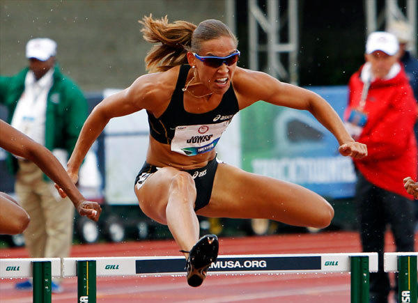 Lolo Jones competes in 100m hurdles semi-finals at the U.S. Olympic athletics trials in Eugene, Oregon June 23, 2012.
