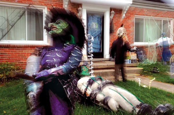 Haunts, ghosts and ghouls have taken up residence in front of a home on Nelson Avenue just in time for Halloween Wednesday. The creatures include a witch, below, and, at right, a mummy finding his way above ground. All the Halloween fun begins Friday from 6 to 9 p.m. with the ¿Halloween at the Museum¿ at the Bluegrass Heritage Museum on South Main Street. The Winchester-Clark County Parks and Recreation Department is hosting its annual Haunted House and Swamp at College Park Gym Friday and Saturday night. Games and inflatables begin at 6:30 p.m. and tours through the haunted house and swamp are 7:30 to 10 p.m. both nights. Halloween Main-ia for young trick or treaters will be 6 to 8 p.m. on Halloween night downtown.