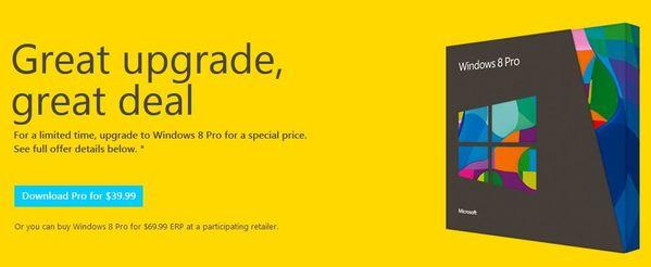 Microsoft said Windows 8 is now available for download and purchase, starting at $39.99.