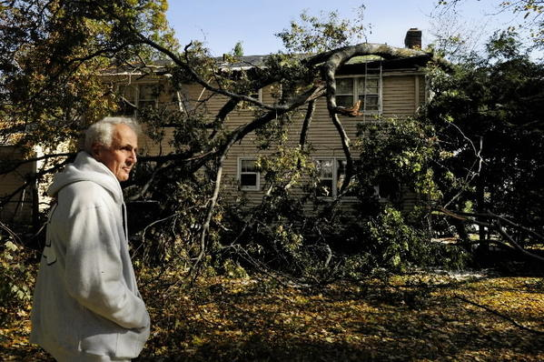 'At first, I thought it was thunder,' said Gideon Rutenberg about the noise of a tree crashing through a bedroom and bathroom in his Bloomfield home during the October snowstorm that wreaked havoc on the state.