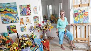 Inga-Charlotte Doerp's colorful paintings will help the Hampton Arts Foundation