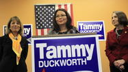 Democrat Tammy Duckworth today campaigned with a California congresswoman who said she had to have an abortion to save her life as part of Duckworth's ongoing effort to highlight her differences with Republican Rep. Joe Walsh.