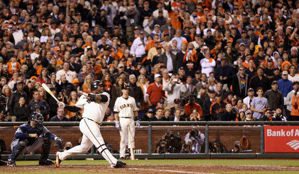 The San Francisco Giants' Pablo Sandoval singles against the Detroit Tigers' Al Albuquerque during Game 1 of Major League Baseball's World Series on Wednesday.