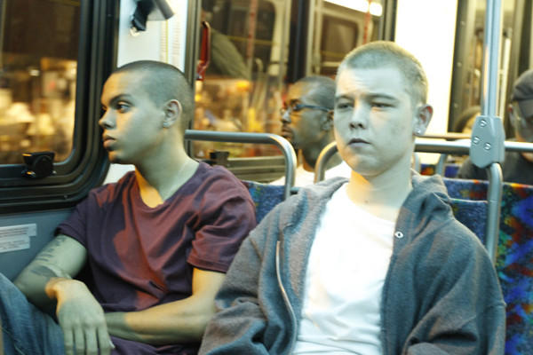 "Evan Ross and J. Michael Trautmann in a scene from the movie ""96 Minutes."""