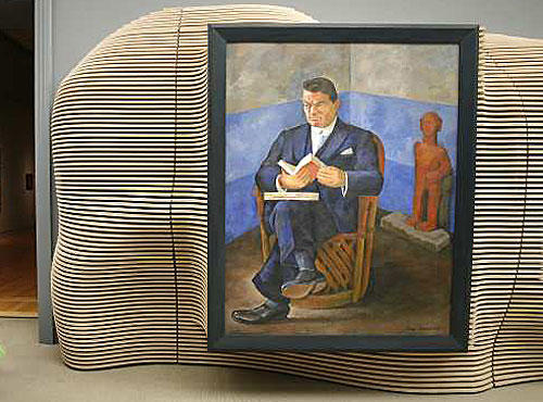 "<b>CURVES:</b> Diego Rivera's ""Portrait of John Dunbar"" is part of LACMA's exhibition, ""Latin American Art: Ancient to Contemporary."" Artist Jorge Pardo conceived and executed the installation design."