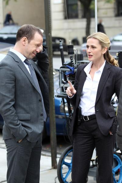 "Donnie Wahlberg and Megan Ketch on location in Manhattan for the filming  of ""Blue Bloods."""