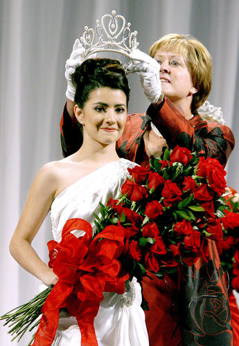 Rose Queen Vanessa Manjarrez is crowned by 2013 Pasadena Tournament of Roses President Sally Bixby during official coronation ceremony at the Convention Center in Pasadena on Thursday, Oct. 25, 2012. Queen Vanessa, a 17 yr.-old resident of Pasadena is the 95th queen crowned. Queen Vanessa is a senior at Mayfield Senior School in Pasadena.