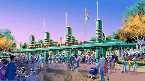 The new Disney California Adventure entrance will feature Streamline Moderne turnstiles modeled after the Pan-Pacific Auditorium.