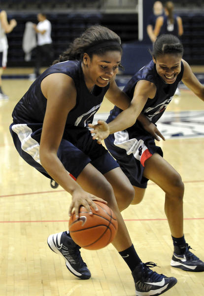 Morgan Tuck (left) keeps the ball away from Moriah Jefferson (right) in a light moment after a UConn women's practice.