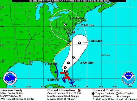 Hurricane Sandy forecast track as of 5 a.m. Friday, Oct. 26, 2012.