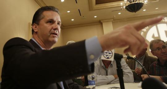 John Calipari makes a point during SEC Media Days Thursday.